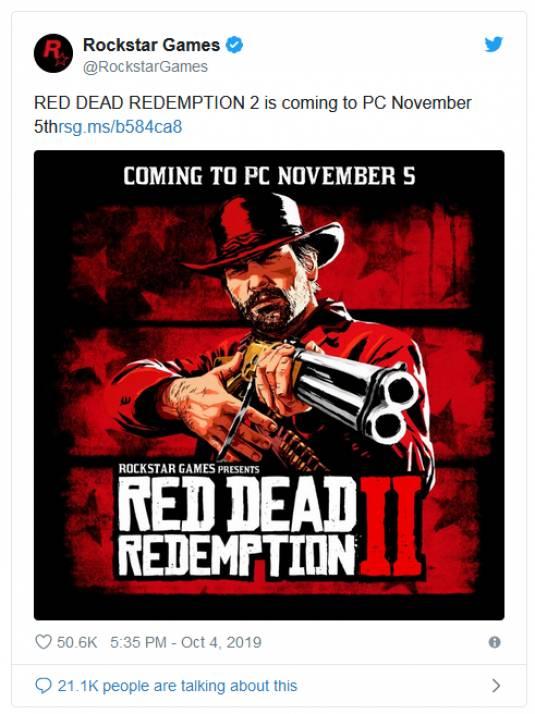Официально и без регистрации - Red Dead Redemption 2 выйдет на ПК уже 5 ноября