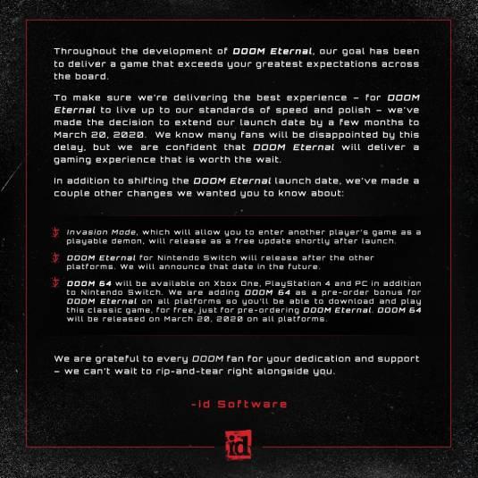 Релиз Doom Eternal откладывается на 5 месяцев
