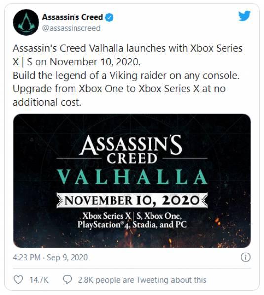 Assassin's Creed Valhalla выйдет на неделю раньше!